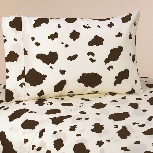 3pc Twin Sheet Set for Wild West Cowboy Bedding Collection by Sweet Jojo Designs - Cow Print