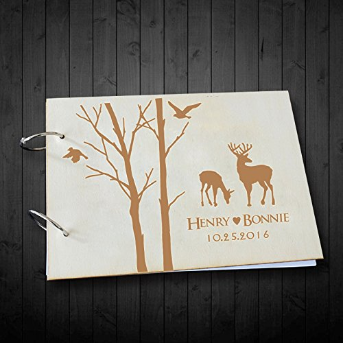 Tree Wedding Guest Book with Deer Personalized Name and Date Scrapbook Photo Albums Book 8 x 12 inches Christams Gifts for Couples