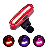 Cheap ToHa 650mAh USB Rechargeable LED Flashing Rear Bike Light, 6 Lighting Modes Bicycle Tail Safety Light, Red-Blue-Pink Flash