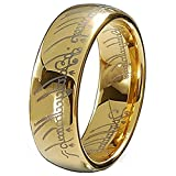 Gold Plated 18k Elvish Script Tungsten Carbide Unisex Laser-etched Wedding Ring Band- 7mm (9)