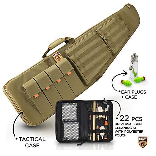 CrispyBear Tactical Scoped Rifle Case: Military AR15 Gun Holder with 3D Protection, MOLLE System, Plus Universal Cleaning Kit with Ear Plugs - Holiday Deals