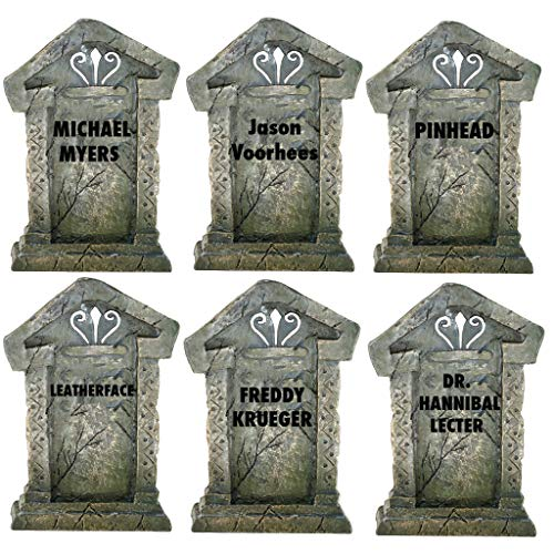 VictoryStore Serial Killer Tombstones - Halloween Yard Decoration - Set of 6, 21.3 inches x 14.8 inches