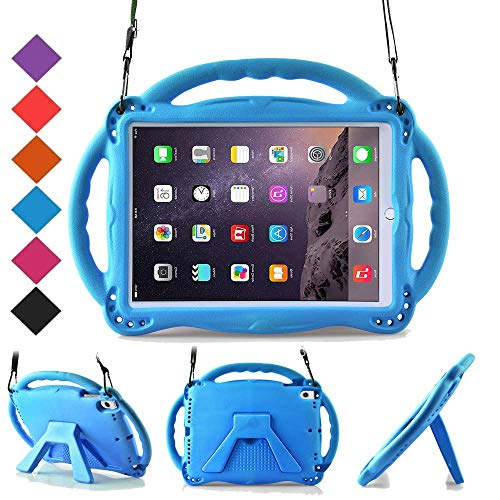 BMOUO Kids Case for New iPad 9.7 2018/2017 - Shoulder Strap Shockproof Handle Stand Case for iPad 9.7 inch 2018 (iPad 6th Generation) / 2017 (5th Gen) iPad 9.7 / iPad Air/iPad Air 2 - Blue