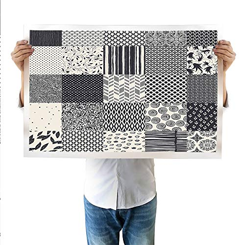 SATVSHOP Art Work Painting 15.7Wx19.6L Inch,Geometric Abstract Lines Charcoal Grey Colored Striped Image with Hexagonal Design Black and White.Suitable for bedrooms, Living Rooms, -