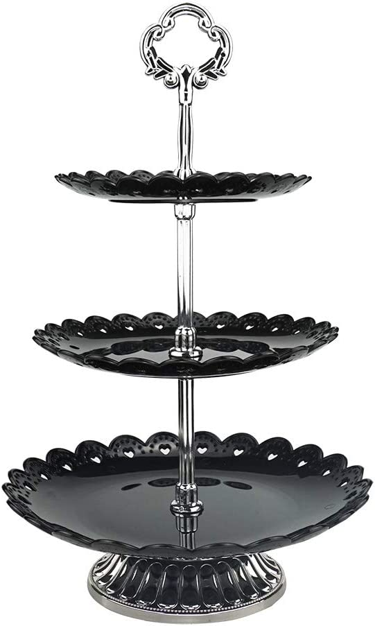 3-tier Black Plastic Dessert Stand Pastry Stand Cake Stand Cupcake Stand Holder with Base Serving Platter for Party Wedding Home Decor Silver