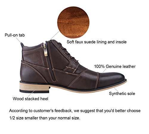 Brown Zipper with Dark Oxfords Dress Ankle Genuine Leather Kunsto Men's Boots vq1BOFw6a