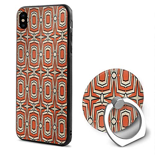 Geometric iPhone x Cases,Squares and Rhombuses with Bullseye Pattern Abstract Warm Colored Shapes Burnt Sienna Beige,Mobile Phone Shell Ring Bracket