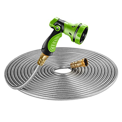 BEAULIFE New 304 Stainless Steel Metal Garden Hose with 8 Functions Metal Garden Hose Nozzle 50ft|Flexible, Portable & Lightweight – No Kink, Tangle & Puncture Resistant
