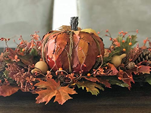 LARGE Fall Pumpkin Centerpiece Floral Arrangement with Pinecones Gourds and Burlap Accents for Thanksgiving Harvest Autumn Table Home Decor, Rustic Farmhouse Style, Handmade, 32