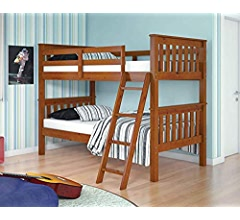 Amazon.com: Donco Kids 122-3-TFE_503E Mission Bunk Bed withTrundle Twin/Full/Twin Light Espresso: Kitchen & Dining