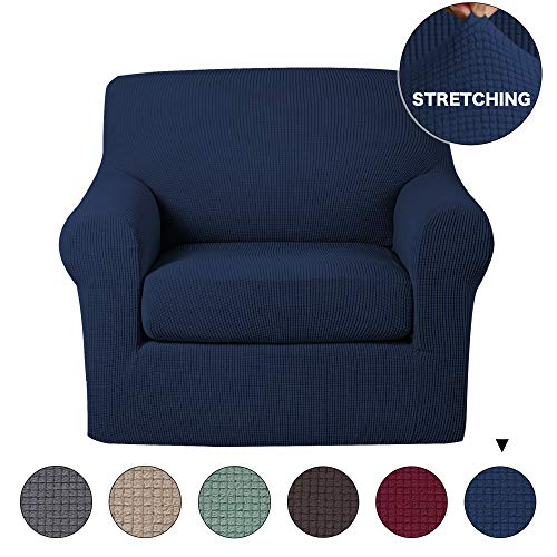 Turquoize 2 Piece Sofa Cover Stylish Stretch Chair Slipcover Navy Blue Slipcover Jacquard Spandex Sofa Slipcover, Stretch Chair Cover Furniture Cover/Protector (Navy, Chair ()