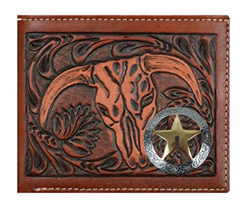 3 Slot Belt - Custom 3D Belt Company Texas Ranger Lone Star Brown and Tan Cow Skull Wallet Bi-fold