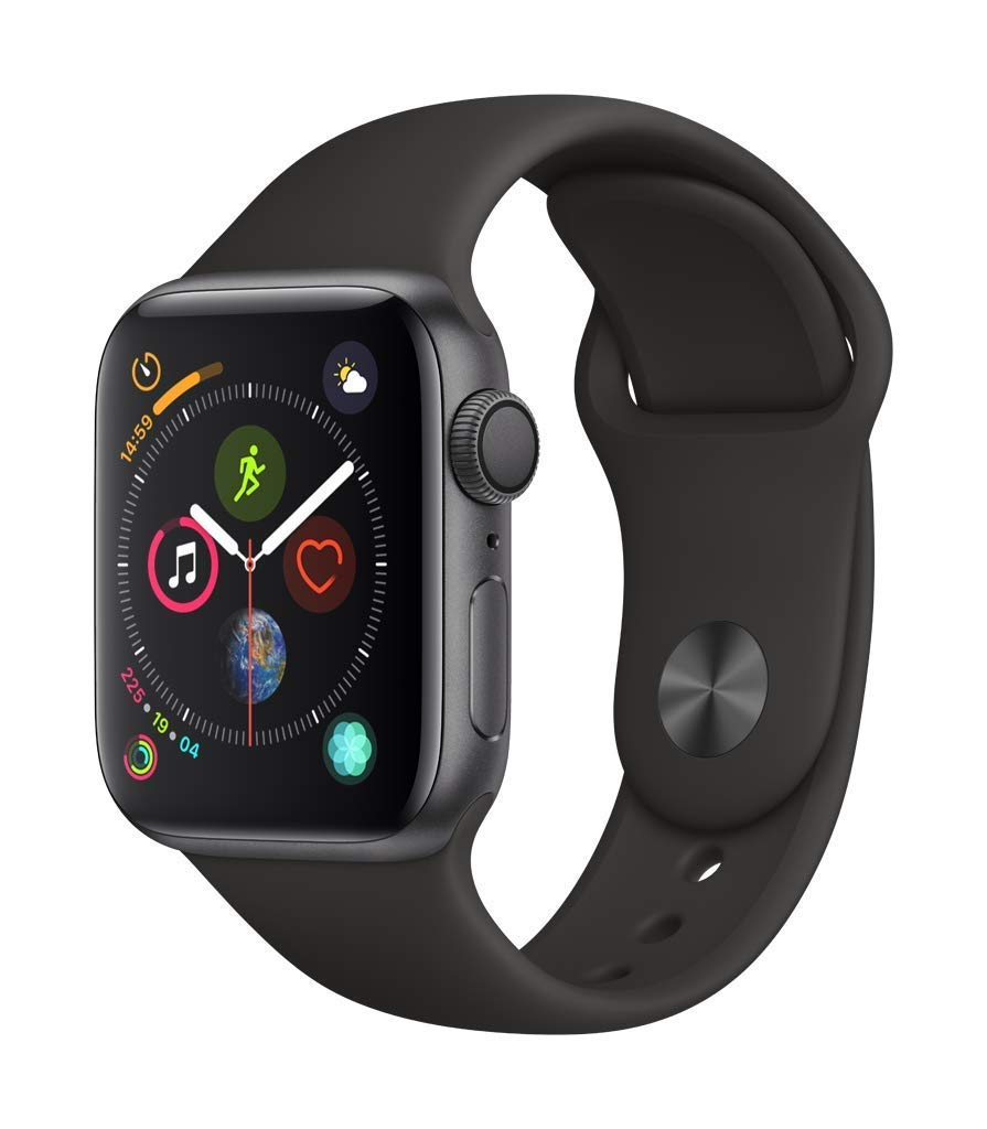Apple Watch Series 4 (GPS, 40mm) - Space Gray Aluminium Case with Black Sport Band (Renewed) by Apple