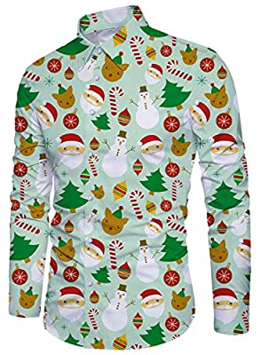 Alistyle Men's Ugly Christmas Dress Shirt Long Sleeve Xmas Print Party Casual Button Down Shirts for Men