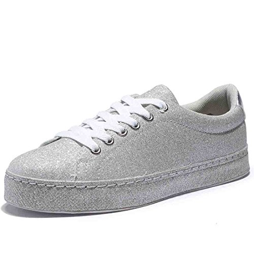 Flats Quilted Metallic (BTDREAM Women's Glitter Fashion Sneaker Quilted Lace Up Metallic Sequins Stylish Shoes Silver Size 40)