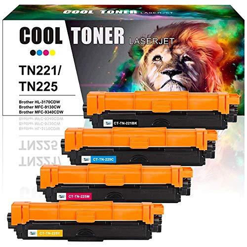 Cool Toner Compatible for Brother TN221 TN225 HL-3170CDW Toner for MFC-9130CW MFC 9340CDW MFC-9340CDW MFC 9130CW HL-3140CW MFC-9330CDW Toner Cartridge Ink Printer (Black/Cyan/Magenta/Yellow,4 Pack)
