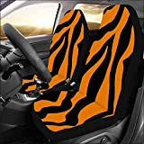 INTERESTPRINT Universal Fit Custom Tiger Orange Stripe Protector Two Front Car Seat Covers Set -100% Breathable