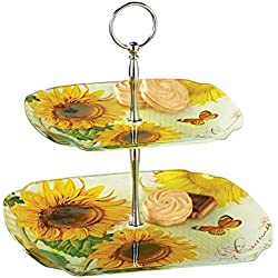 Floral Sunflower 2 Tier Glass Serving Tray