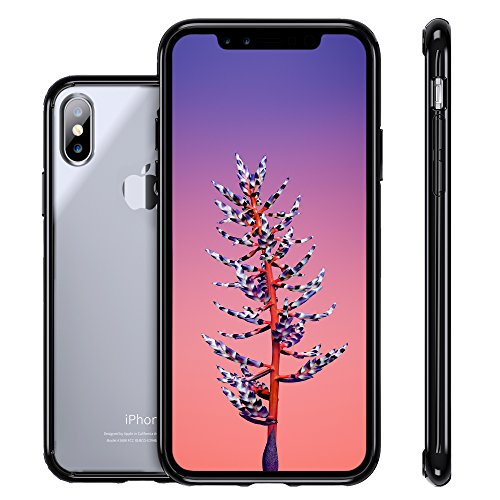 iPhone X Case,Clear Thin Hybrid Cute Armor Hard Back Defender Flexible Silicone TPU Gel Bumper Anti-Slip Scratch Shock-Proof Full Body Resistant Transparent Protective Cover for Apple iPhone X Black