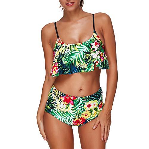Tankini Swimsuits for Women Teen Girls Bikini Bathing Suits Ruffled Flounce Top with Tummy Control Bottom Swimwea]()