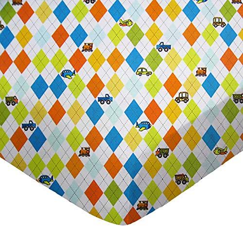 - SheetWorld FLAT Crib / Toddler Sheet - Argyle White Transport - Made In USA