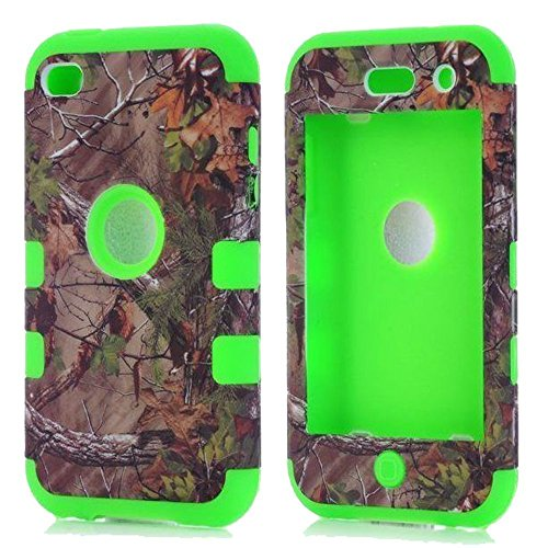 iPod Touch 4th Generation Case, Kecko Heavy Duty Military Camouflage Shock-absorbing Hunting Outdoor Shatter Weather Resistant Hybrid Armor Defender Series Case for Ipod Touch 4 (Green) (Ipod Touch Case Camouflage)