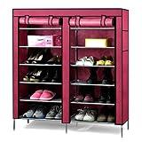 World Pride 6-Tier 36 Pair Double Door Utility Shoe Closet Organizer (Wine Red)