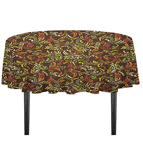 kangkaishi Earth Tones Printed Tablecloth Antique Scroll Pattern with Royal Theme and Classical Details Curly Leaf Motifs Outdoor and Indoor use D43.3 Inch Multicolor
