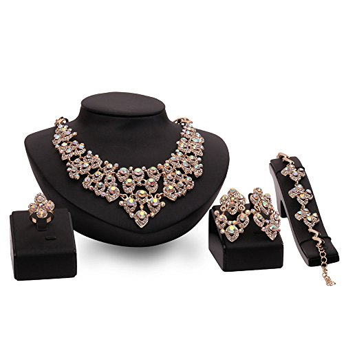Rhinestone Gold Plated Cubic Zirconia Flower Costume Fashion Earrings Necklace Set for Women ()