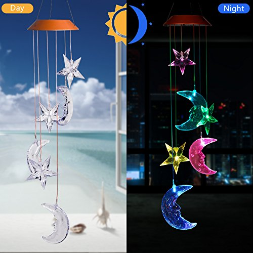 CXFF LED Solar Moon and Stars Wind Chimes Outdoor - Waterproof LED Changing Light Color Wind Chime, Six Moon and Stars Wind Chimes for Home, Party, Night Garden Decoration