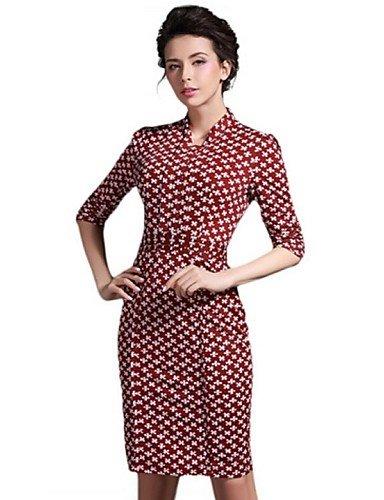 PU&PU Robe Aux femmes Gaine Street Chic,Imprimé Col en V Mi-long Polyester / Nylon , red-xl , red-xl