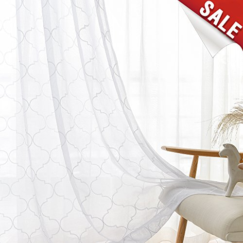 (jinchan White Sheer Curtains for Living Room Moroccan Tile Embroidered Window Curtains Lattice Geometric Quatrefoil Embroidery Semi Sheer Curtains for Bedroom, 2 Panels, 55 x 95 Inch)