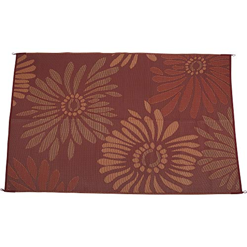 Kotulas Outdoor Reversible Patio/RV Mat - 9ft. x 18ft, Red Floral ()