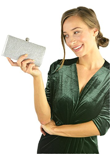 Encrusted Gold Evening Diamante Hotstylezone Bridal Silver Prom Purse Party Clutch bag Shimmering Silver IwqIaF