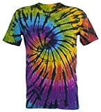 Tie Dye Contrast Rainbow / Black Spiral 701704 T-Shirt XL
