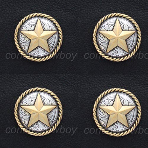 Conchos for Clothes Set of 4 Horse TACK Antique Gold Round Rope Edge Star Conchos 3/4