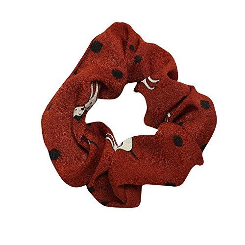 - URIBAKE Women Elastic Hair Rope Ring Tie Print Cloth Scrunchie Ponytail Holder Hair Band Headband Coffee