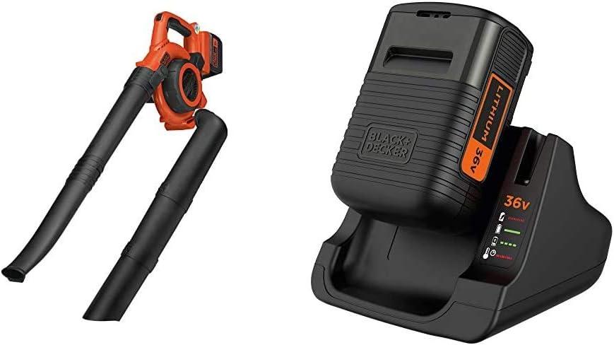 BLACK+DECKER GWC3600L20-QW - Soplador, Aspirador, triturador 36V, Incluye batería Litio 2Ah + BDC2A36-QW - Pack batería de Litio 36V 2Ah y Cargador
