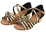 Eden Babe Girl's Satin Strappy Tango Latin Dance Shoes(Little Kid 12.5M,Gold 28)