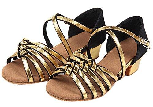 Eden Babe Girl's Satin Strappy Tango Latin Dance Shoes(Big Kid 7M,Gold 39)