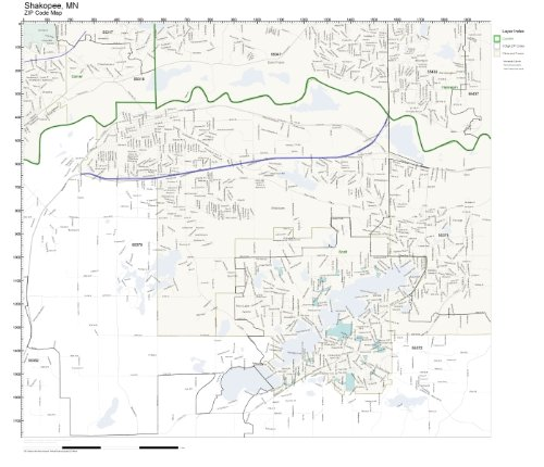 ZIP Code Wall Map of Shakopee, MN ZIP Code Map Laminated -