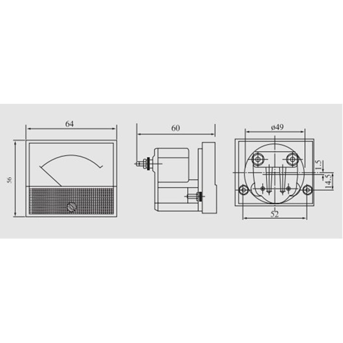85C1-A Analog Stromanzeigeger/ät DC 50A Amperemeter Ampere Pr/üfger/ät DE de sourcing map 1 Stk