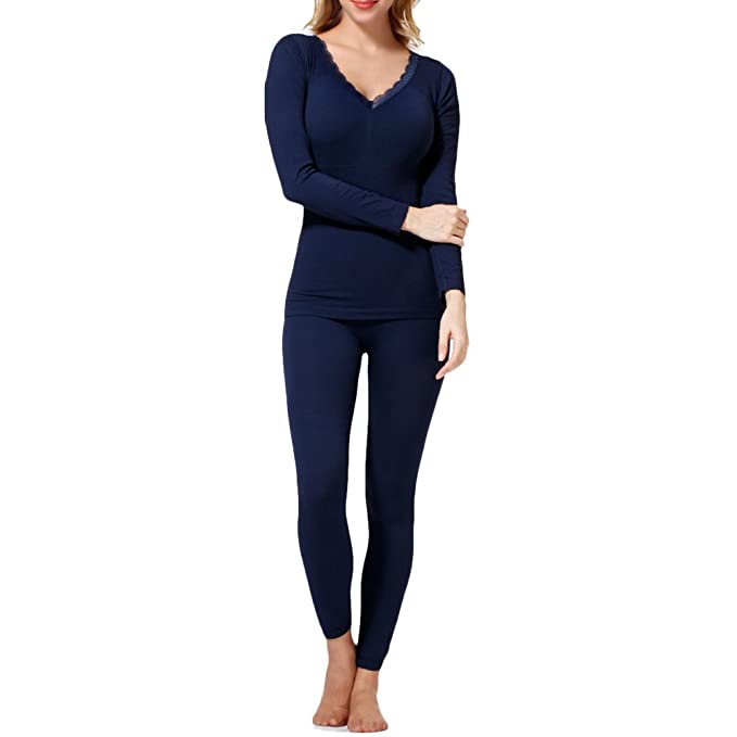 Zhhlaixing Mujeres Winter Plus Velvet Thick Warm V-Neck Thermal Underwear Suits Pants & Shirt
