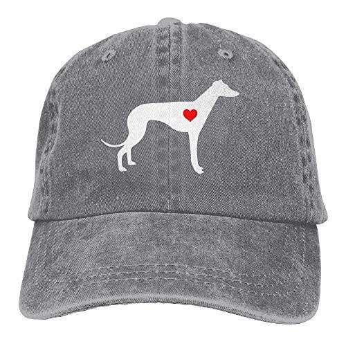 - 2018 Adult Fashion Cotton Denim Baseball Cap Greyhound Dog Heart-1 Classic Dad Hat Adjustable Plain Cap