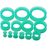 """Qmcandy 26pcs 8G-1"""" Turquoise Thin Silicone Double Flared Hollow Flexible Ear Tunnels Kit Ear Stretching Set (13 Pairs)"""
