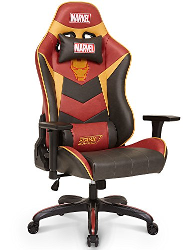 51rmeubHWGL - Licensed Marvel Avengers Iron Man Superhero Ergonomic High-Back Swivel Racing Style Desk Home Office Executive Computer Video Gaming Chair with Headrest and Lumbar Support, Neo Chair
