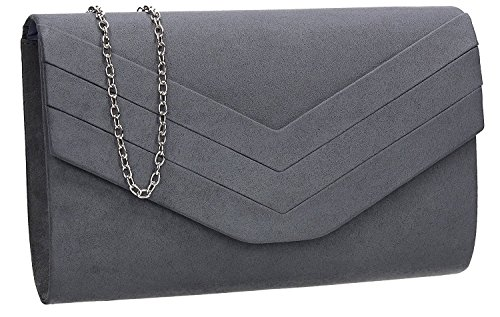 Bag H Nude Plain amp;G Faux Suede Envelope Charcoal Clutch qRzfqwU
