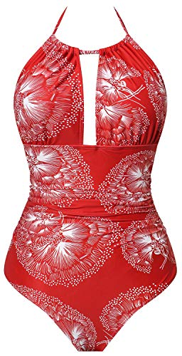 I2CRAZY One Piece Bathing Suits for Women Slimming Backless Swimsuit Floral Print Swimwear - XL,Flower-05