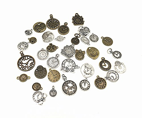 36pcs Clock and Watch Dial Face Movement Charm Alloy Multistyle Steampunk Pendant Connector for DIY Jewelry Making Accessaries by Alimitopia(Antique Silver&Bronze) from HuanX35
