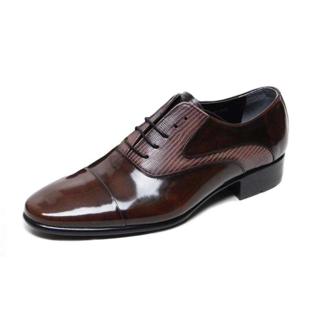 93469a8b5c69 EpicStep Men's Brown Genuine Leather Stylish Dress Formal Business ...